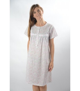 Classic print nightgown with short sleeve p304r