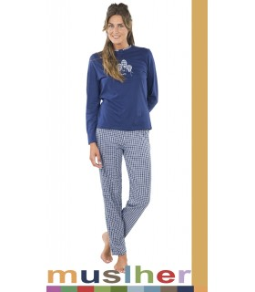 Long pajamas for women in cotton Muslher 186005