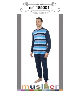Long-sleeved cotton pajamas for men Muslher 185001