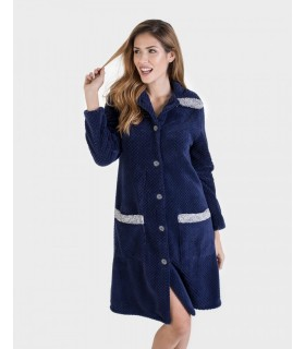 Smooth polar coat of women's navy blue Massana L696225